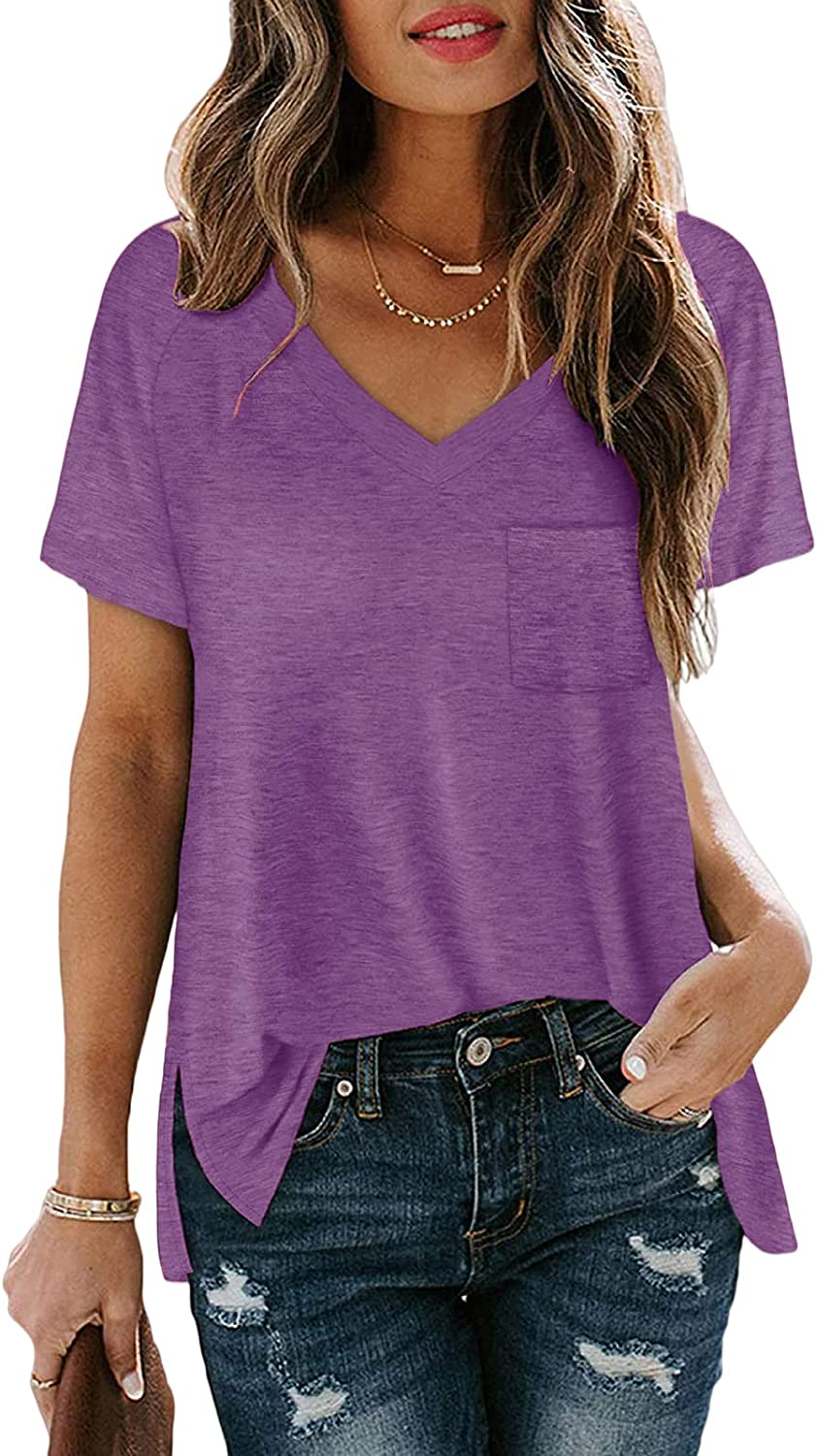 Zuoyouzi Women's V Neck We OFFer at cheap Selling rankings prices Short Sleeve Summ Shirts Casual T Pocket