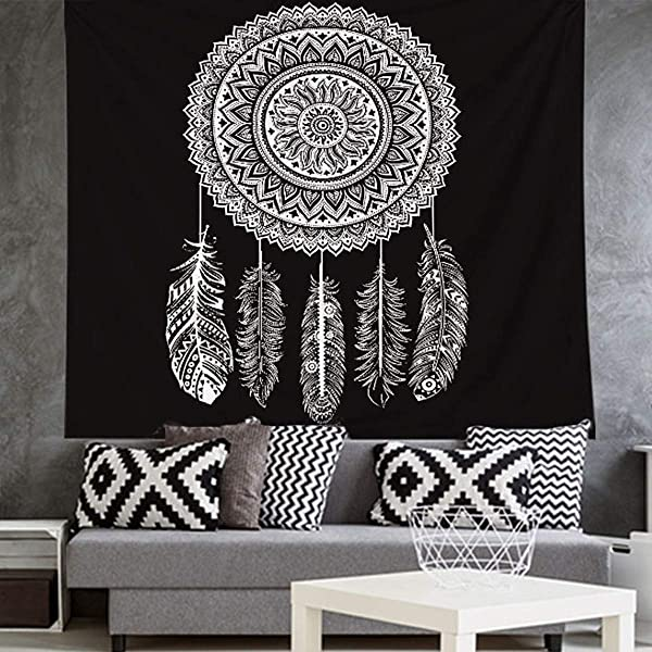 Tapestry Wall Hanging 59 X 79inches Art Black White Mandala Tapestry Wall Hanging For Living Room Bedroom Dorm Decor Black