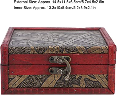 YUYTE Wooden Storage Box, Vintage Wooden Jewelry Box Container Ring Earring Storage Holder with Lock for Earring Bangle Brace