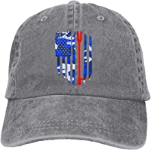 American Flag Firefighter Maltese Cross Halligan Hooligan Fire Axe Men Adjustable Washed Twill Low Profile Baseball Cap Dad Hat Gray