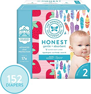 The Honest Company Super Club Box Diapers - Size 2 - Painted Feathers & Strawberries Print | TrueAbsorb Technology | Plant-Derived Materials | Hypoallergenic | 152 Count
