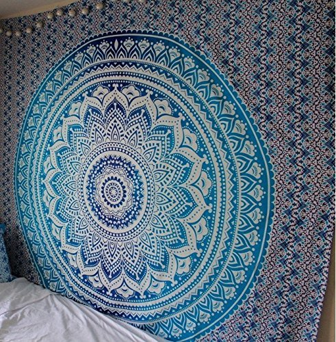 Large Blue Tapestry Queen Size Blue Ombre Tapestry Wall Hanging, Big Hippie Mandala Tapestry Bohemian Bedspread Ethnic Dorm Decor Blue and white Mandala Tapestry hippie tapestries by RSG Venture