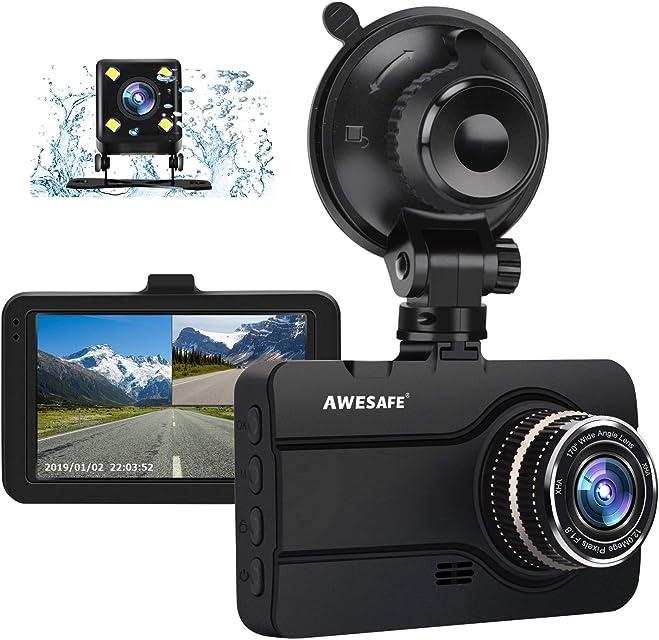 AWESAFE Cámara de Coche Dash CAM 1080P con Cámara Trasera Full HD 170 Ángulo con WDR G-Sensor Detección de Movimiento Grabación en Bucle Visión Nocturna Monitor de Aparcamiento