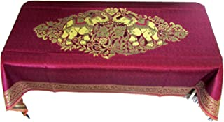 Blue Orchid Thai Elephant Table Cloth Rectangle- Polyester Embroidered Boho Gold Brocade Floral Table Cover - Wedding Party Formal Dining Room 80x40 Inches (Violet)