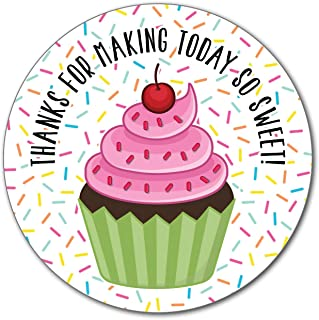 36 2.5 inch Cupcake Stickers Thank You Labels for Bakery Sweets, Baby Sprinkle, Birthday Party