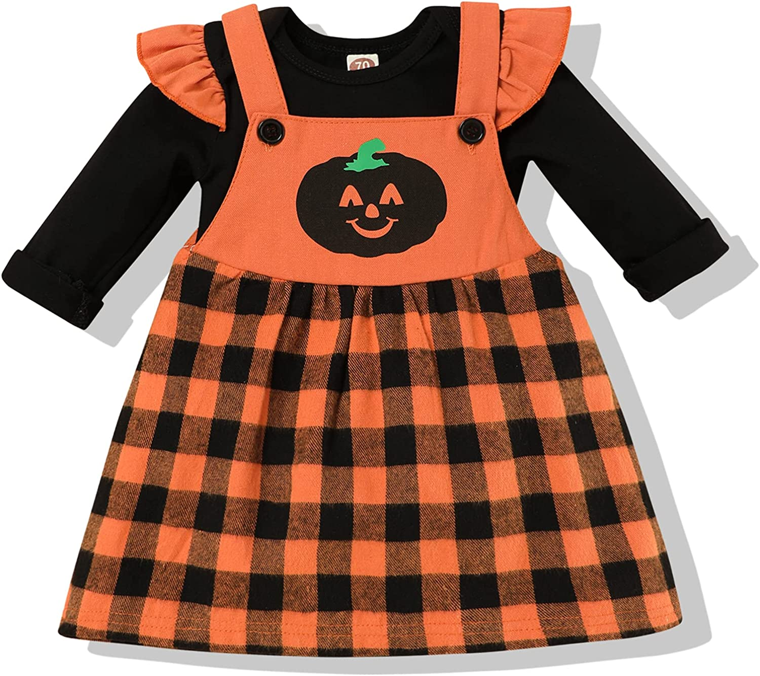 Toddle Baby Girl Halloween Clothes Stripe Top Suspender Pumpkin Bat Ghost Skirt Outfit Set
