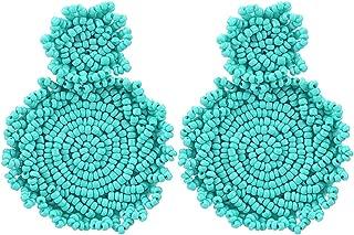 OXYTRA Beaded Statement Earrings - Drop Dangle Earrings Boho Statement Round Earrings for Women & Girls