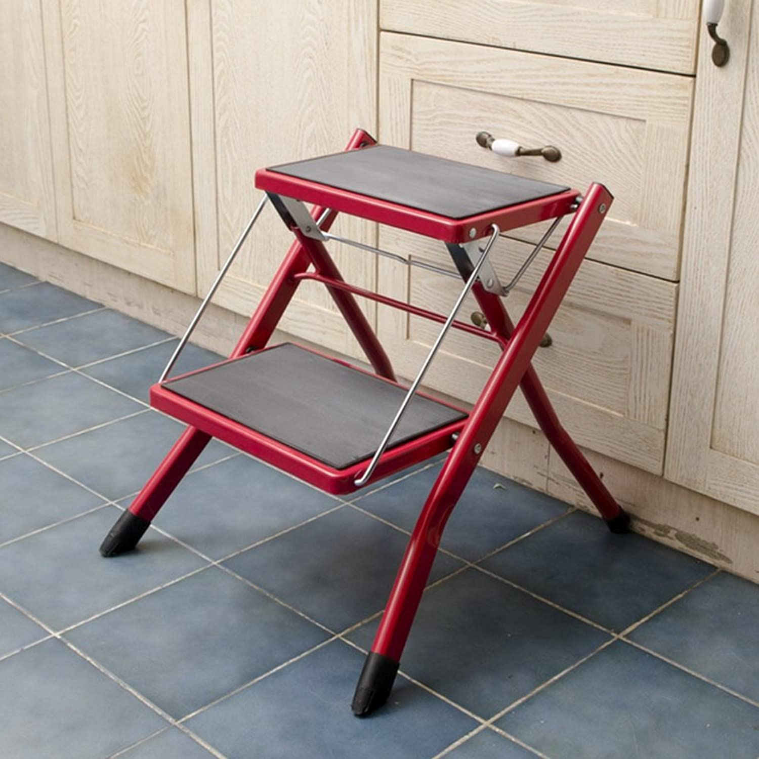 PENGFEI Folding Ladder Stool Stairs Multifunction Portable Household Flower Stand Ascend shoes Bench Metal 2 Steps 3 colors, High 41.5CM Furniture (color   Red)