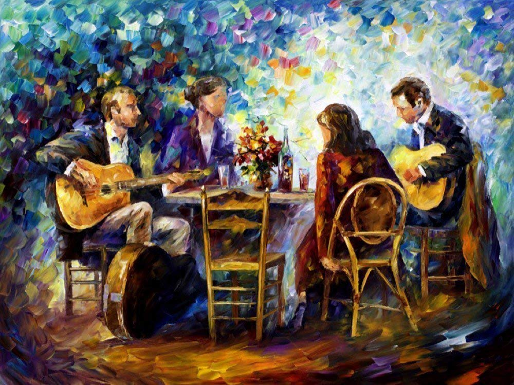 Dinner Oil Painting Don't miss the campaign Figures Wall Art Canvas Max 72% OFF Leonid On By Afremov
