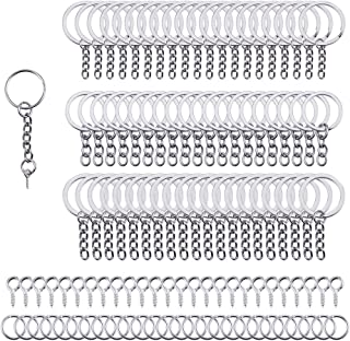 PH PandaHall Elite 340Pcs Keychain Findings Including 100 Pcs 4 Styles 20 25 28 30Mm Keychain Rings With Chain 120 Pcs Scr...