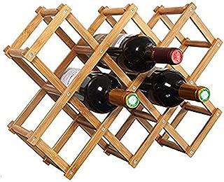 Foldable Wooden Wine Bottle Holder - Natural Wine Shelves - 8 Slots - Holds 10 Wine Bottles, Wine Rack (Holds 10 Bottles)