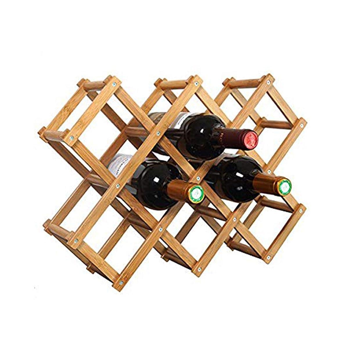 Foldable Wooden Wine Bottle Holder - Natural Wine Shelves - 10 Wine Bottle Storage Slots, Wine Rack (10 Bottle Slots)