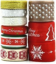 9 Rolls Christmas Ribbon Grosgrain Satin Tyg Xmas Band För Hantverk Dekoration Holiday Box Presentpapper, Diy Hår Bow Clip...