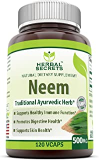 Herbal Secrets Neem 500 Mg 120 Vegetarian Capsules (Non-GMO) Promotes Blood Purification , Promotes healthy Immunity and P...