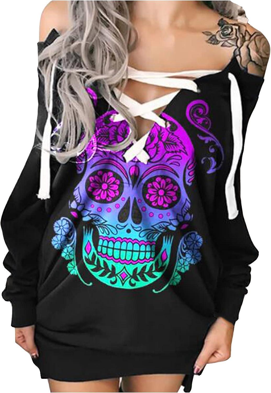 Women's Long Sleeve Off The Shoulder Black Criss Cross Halloween Print Dress Sexy Low Cut Fall Casual Tops