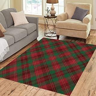 Pinbeam Area Rug Green Aged Tartan Inspired Diagonal Plaid Pattern Red Home Decor Floor Rug 2' x 3' Carpet