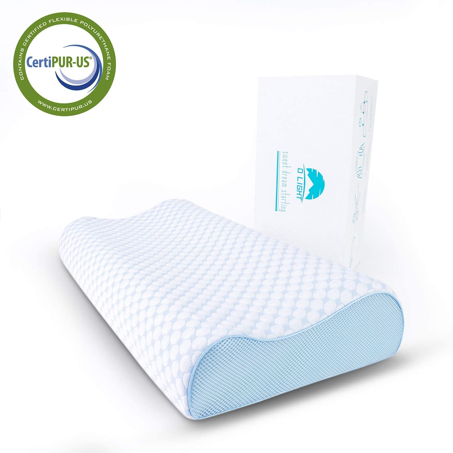 Stomach Sleepers Cervical Bed Pillow to Relieve Neck Pain-Breathable,Supportive for Neck Ergonomic Design for Side Firm Contour-4.7 Inch CertiPUR-US Dlight Contour Memory Foam Pillow Back