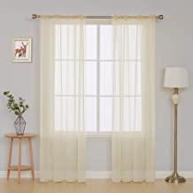 Deconovo Rod Pocket Sheer Curtains Window Drapes 2 Panels 54x95 Inch Beige CT1486D-3