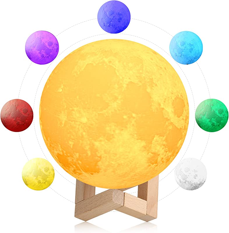3D Space Moon Lamp 5 9in With Stand 3D Printing Moon Night Light With Stand Touch Control Color Changing Decorative Light For Kids Room Bedroom 5 9 In