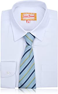 JAMES MORGAN Boys White Dress Shirt with Stylish Tie - Sizes 4-7