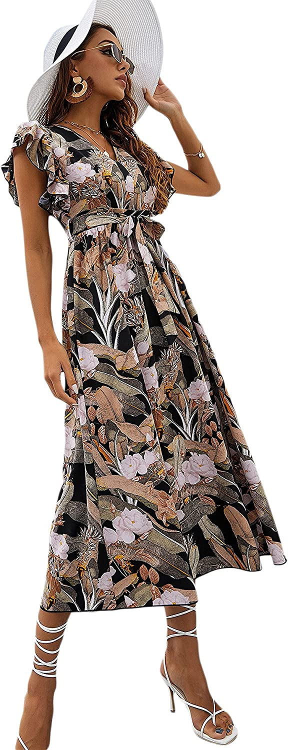 Floerns Women's Ruffle Cuff All Over Floral V Neck Belted Maxi Dress