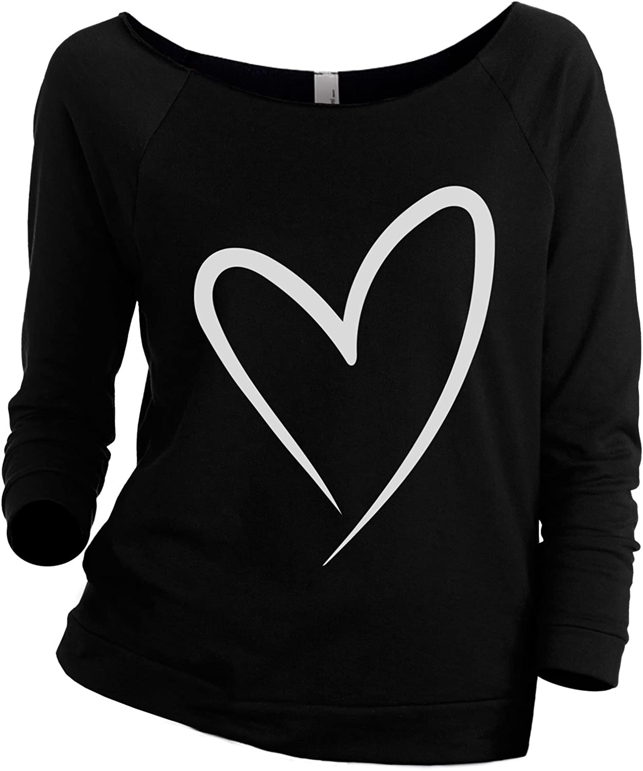 HeartBreath Off-the-Shoulder Insanely Comfy Slouchy Long Sleeve Tee