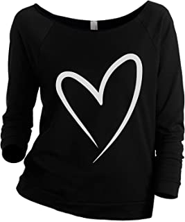 Simply Heart Women's Slouchy 3/4 Sleeves Raglan Sweatshirt Black - coolthings.us