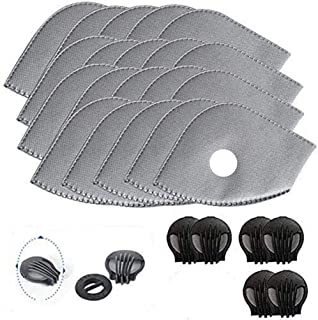 Activated Carbon Filters Replacements Parts Set of 15 Fit for Most Cycling Masks Filters with 6 Exhaust Valves Replacement Dust (15pcs)