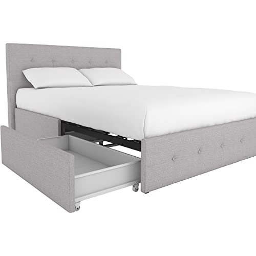 Dhp Rose Linen Tufted Upholstered Platform Bed With Storage Gray Linen Full Furniture Decor