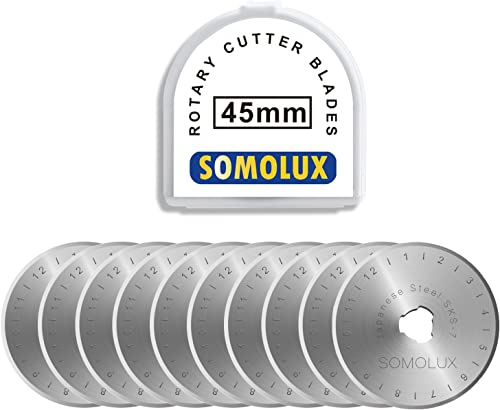 Rotary Cutter Blades 45mm 10 Pack by SOMOLUX,Fits OLFA,DAFA,Truecut Replacement, Quilting Scrapbooking Sewing Arts Cr...