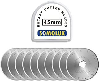 Rotary Cutter Blades 45mm 10 Pack by SOMOLUX,Fits OLFA,DAFA,Truecut Replacement, Quilting Scrapbooking Sewing Arts Crafts,Sharp and Durable