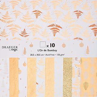 Toga Papier imprimé recyclé, Blanc et Or, 29 x 30 cm, Set de 5 Pièces