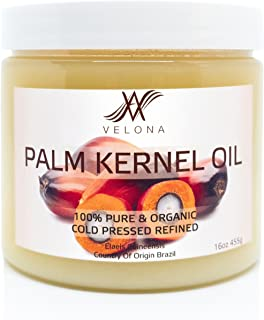 100% Organic Palm Kernel Oil by Velona   All Natural Oil for Soap Making, Cooking, Hair, Body, Skin & Face Care  Refined, Cold Pressed   Size: 16 OZ