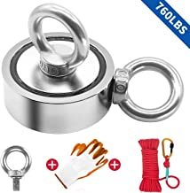 """Fishing Magnet Kit Double Sided, 760lbs Pulling Force Super Strong Round Rare Earth Neodymium Magnet with Eyebolt, Heavy Duty Rope & Non-Slip Glove for Magnetic Fishing, River, 2.63"""" Diameter"""