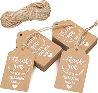 200 Pieces Kraft Paper Gift Tags Thank Tags Cards with 40 Meters Twine for Wedding Birthday Thanksgiving Party DIY Crafts