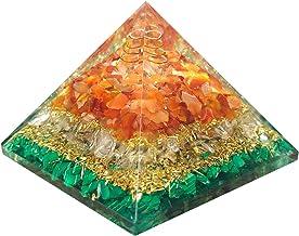 Orgonite Pyramid For Healing Heart | Red Carnelian | Crystal Quartz | Malachite | Orgone Pyramid For EMF Protection | Crystal Chakra Stone By Orgonite Shop