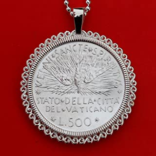 1978 Vatican 500 Lire Sede Vacante BU Uncirculated 83.5% Silver Coin 925 Sterling Silver Necklace NEW - Descending Stylized Dove