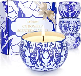 Laluztop Citronella Candles Outdoor and Indoor, Natural Mosquito Repellent, 4.8oz Scented Candles Pure Soy Wax Portable Tr...