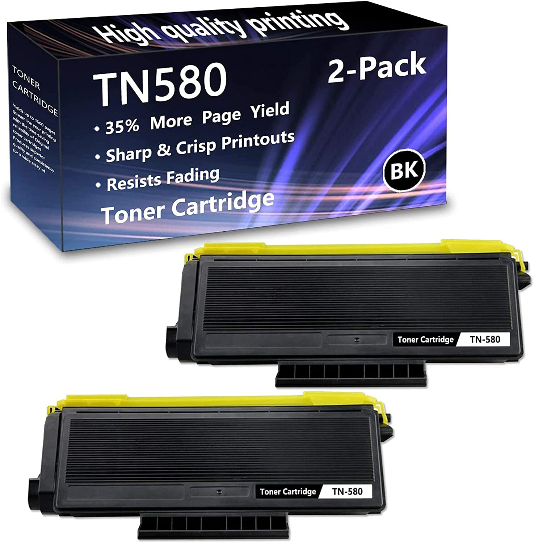 2 Pack Black TN580 予約販売 Toner セール開催中最短即日発送 Cartridge Brother HL- for Replacement
