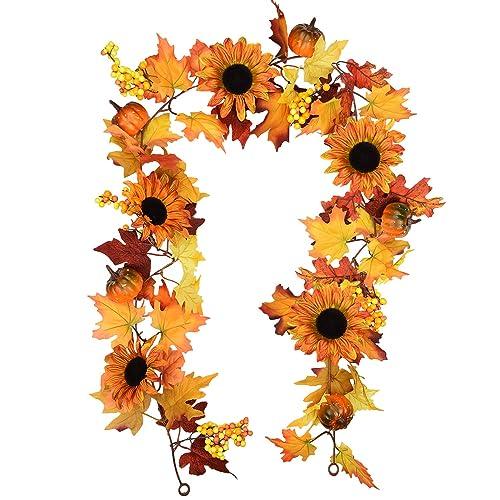 Sunm Boutique 6 Feet Artificial Maple Leaf Berries Sunflower Pumpkin  Garland Hanging Vine Decoration Autumn Fall