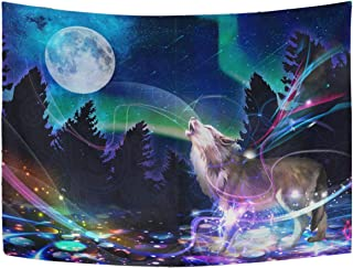 WHBAG Wolf Tapestry Moon Galaxy Psychedelic Wall Hanging Decor Night Sky Moon Space Hippie Tapestries Wall Tapestry Colorful for Bedroom 60