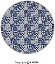 3D Printed Modern No-Shedding Non-Slip Rugs,Vintage Patchwork Inspired Mosaic Tile Pattern Traditional Classic Decorative 2' Diameter Blue Navy Blue White,Machine Washable Round Bath Mat