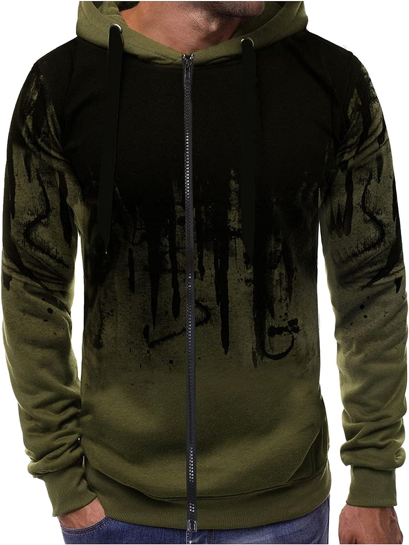 Huangse Men's Ink-Splash Tie Dye Hooded Sweatshirt Hip Hop Long Sleeve Full Zip Jackets with Hood Drawstring Streetwear