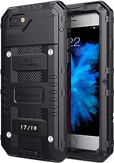 Mitywah iPhone 7 / iPhone 8 Case Heavy Duty Durable Metal Full Body Protective Case Built-in Screen Protection Waterproof Shockproof Dustproof Rugged Military Grade Defender, Black