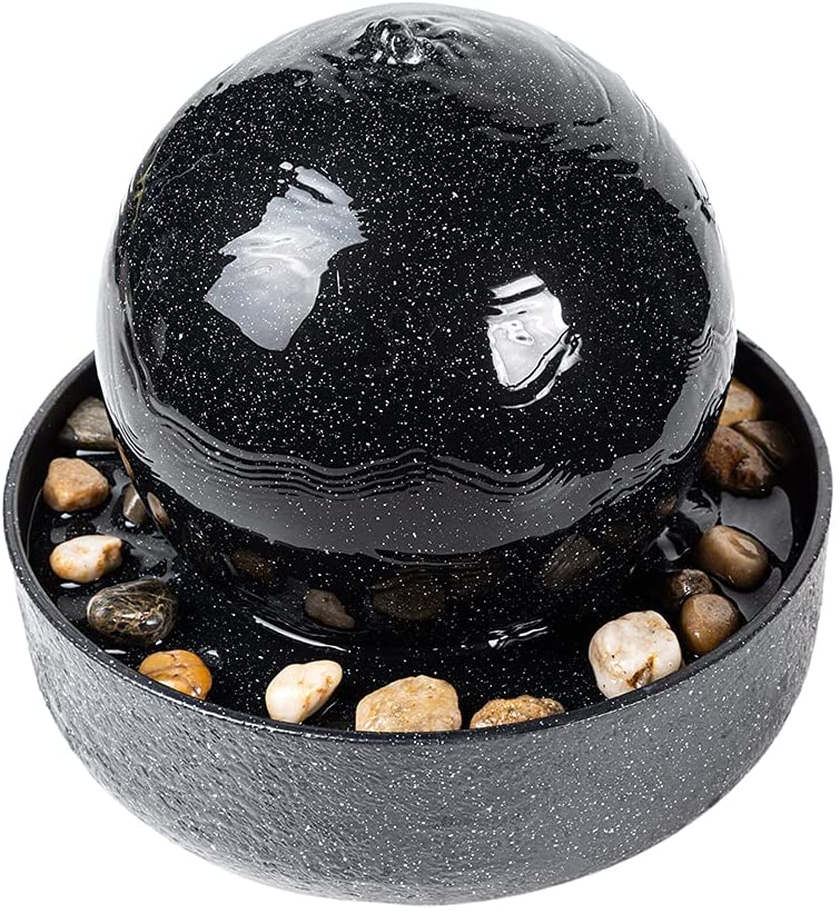 CASLONEE 7.5 Inch Tall Indoor Relaxation Tabletop Ball Fountain with LED Light and Stone Home/Office Decoration Meditiation Water Resin Foundtain Desktop Fountains