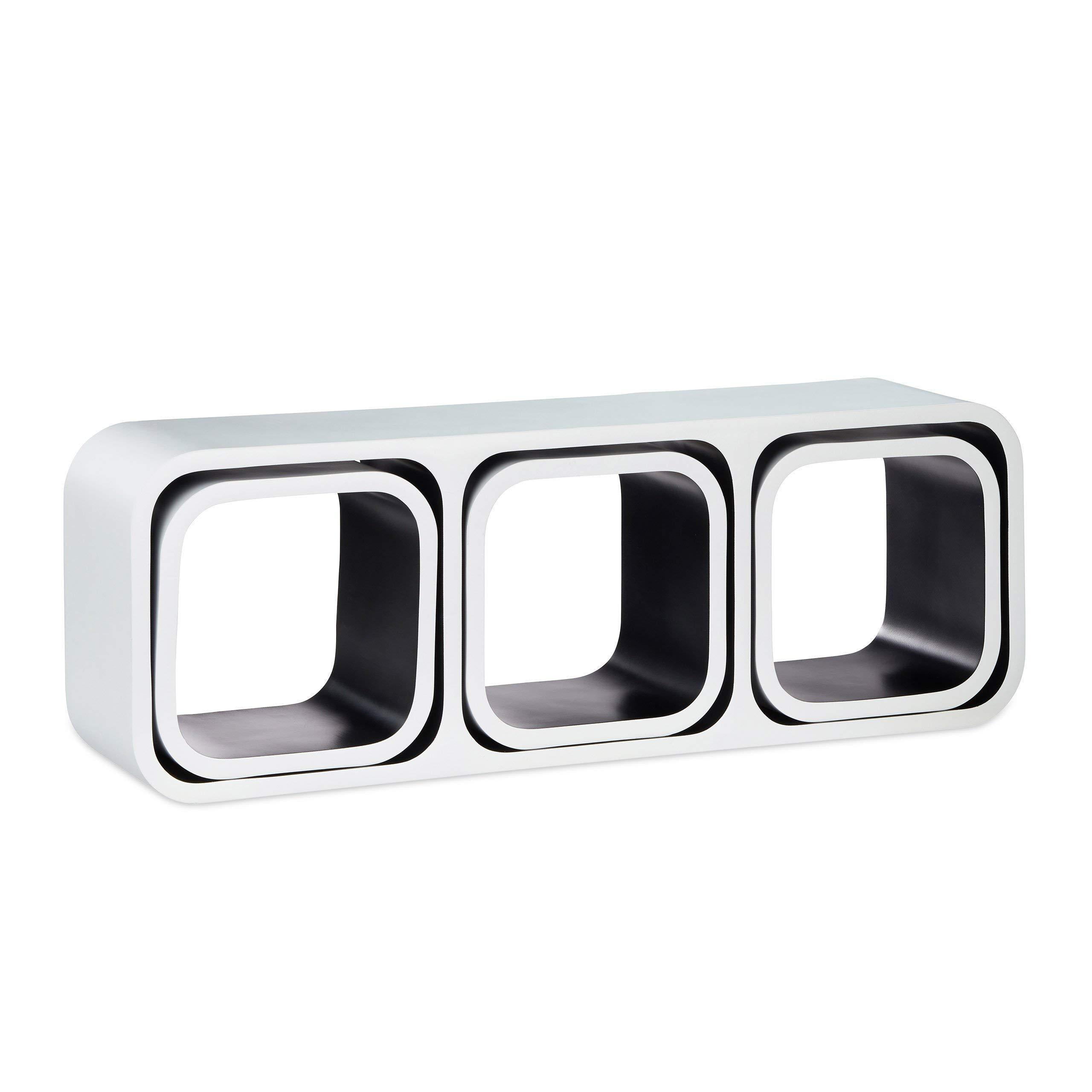 Relaxdays Cube Regal, 4er Set, Freischwebend, Quadratisch