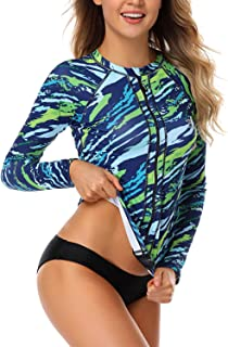 AXESEA Women Long Sleeve Rash Guard UPF 50+ UV Sun Protection Zip Front Swimsuit Shirt Printed Surfing Shirt Top