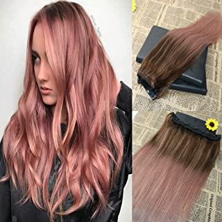16'' Omber Clip in Hair Extensions One Piece 5 clips Rose Gold 100% Real Remy One Piece Clip in Extensions Human Hair 70g Thick Ends Virgin Brazilian Human Hair Extensions