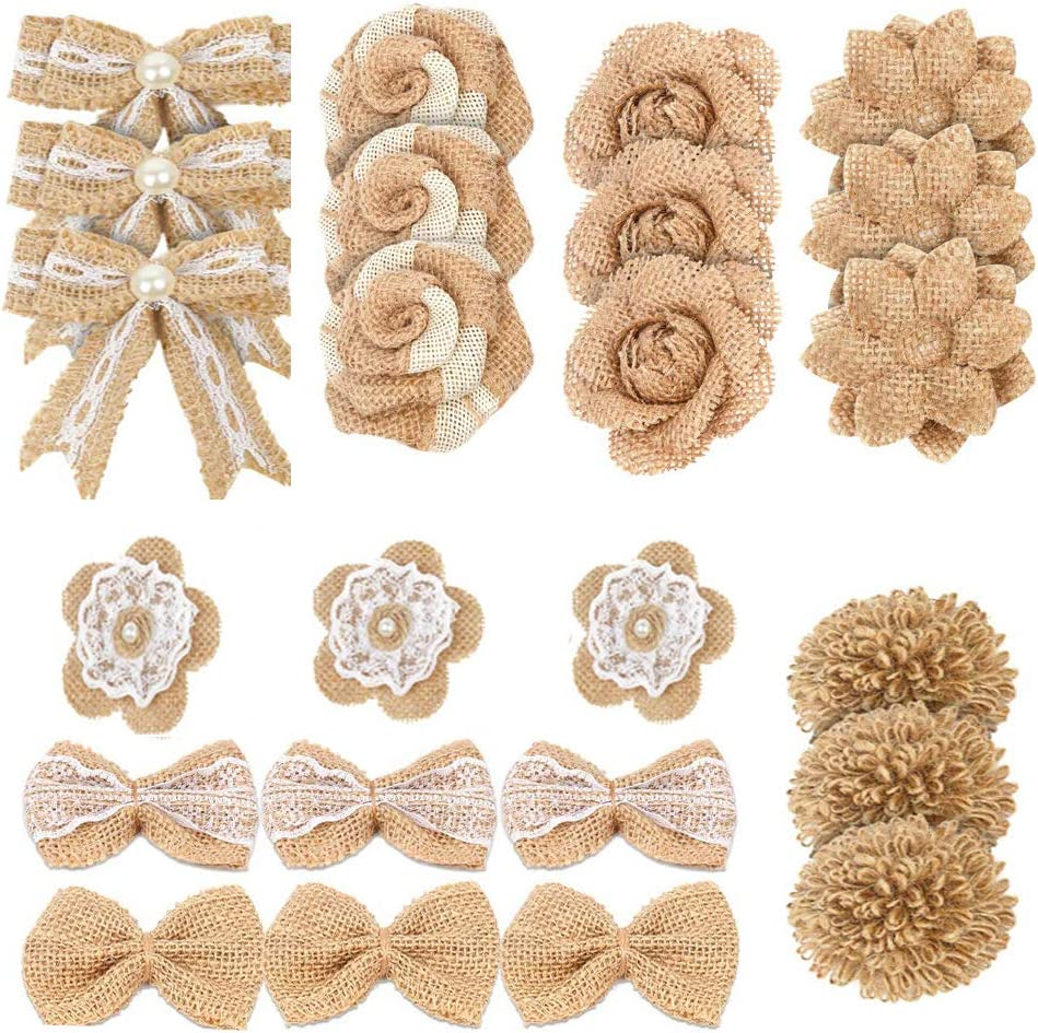 Sohapy Burlap favorite Flowers 5% OFF Set Bow Rustic Knot Homemad