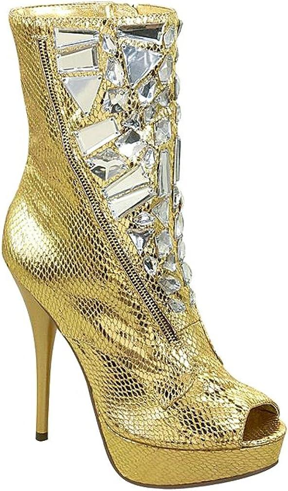 Damen Stiefeletten Gefütterte High Heels Boots Snake 832288 Trendy Neu